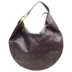 1da142bd954e2 Gucci Horsebit Embossed Belt Hobo 867912 Purple Leather Shoulder Bag