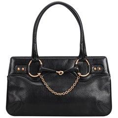 Gucci Black Horsebit Leather Handbag
