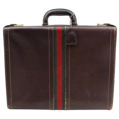 Gucci Sherry Web Attache Briefcase Trunk 867952 Brown Leather Laptop Bag