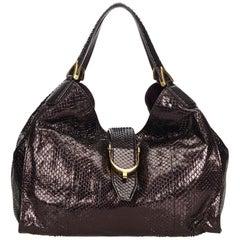 Gucci Brown Python Soft Stirrup Shoulder Bag