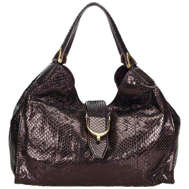 Gucci Brown Python Soft Stirrup Shoulder Bag For Sale