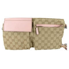 Gucci Monogram Gg Fanny Pack Waist Pouch B867848 Pink Canvas Cross Body Bag