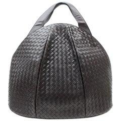 Bottega Veneta Dark Brown Intrecciato Woven Bowler 869195 Brown-black Leather Sh