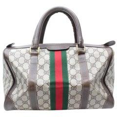 Gucci Boston Sherry Monogram Web Supreme 869617 Brown Coated Canvas Satchel