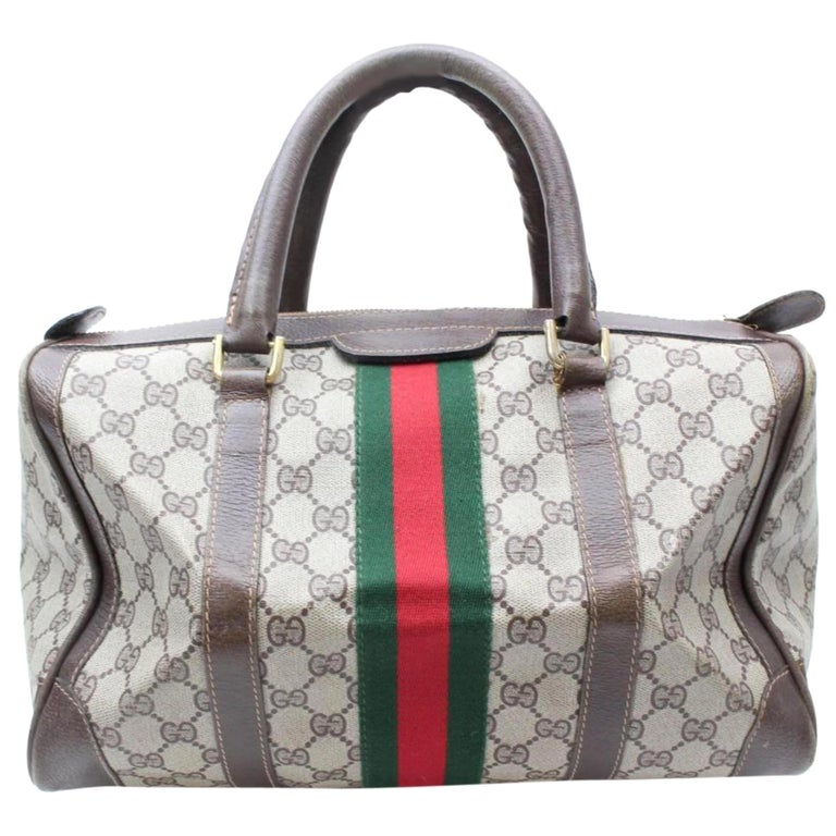 18048fe7f1d Gucci Boston Sherry Monogram Web Supreme 869617 Brown Coated Canvas Satchel  For Sale