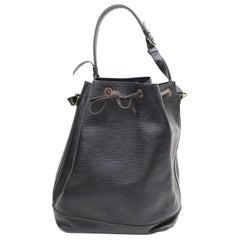 Louis Vuitton Bucket Noir Noe Drawstring Hobo 869630 Black Leather Shoulder Bag