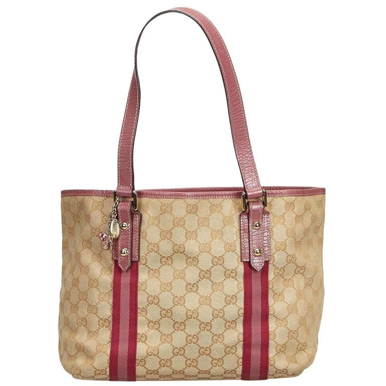 1979ba9621 Gucci Brown GG Jacquard Jolicoeur Tote Bag at 1stdibs