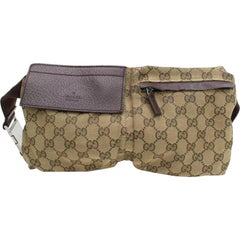 Gucci Monogram Gg Waist Pouch Fanny Pack 868298 Brown Canvas Cross Body Bag