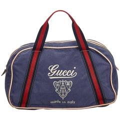 Gucci Blue Nylon Logo Duffel Bag