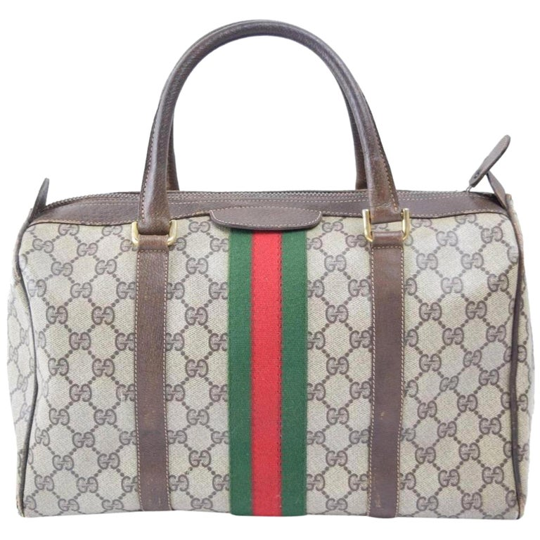 79bea831646d52 Gucci Boston Supreme Gg Sherry Monogram Web 869568 Brown Coated Canvas  Satchel For Sale