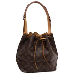 Louis Vuitton Bucket Monogram Petit Noe Drawstring Hobo 869519 Brown Coated Canv