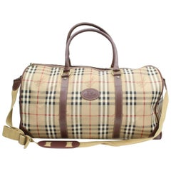 Burberry Nova Check Boston Duffle with Strap 869091 Beige Coated Canvas Weekend/