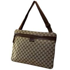 73fc078d6 Gucci Large Signature Monogram Messenger 868775 Brown Canvas Cross Body Bag