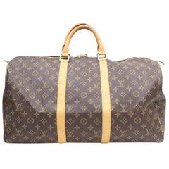f0a6b5181b86 Louis Vuitton Keepall Monogram 50 869098 Brown Coated Canvas Weekend Travel  Bag
