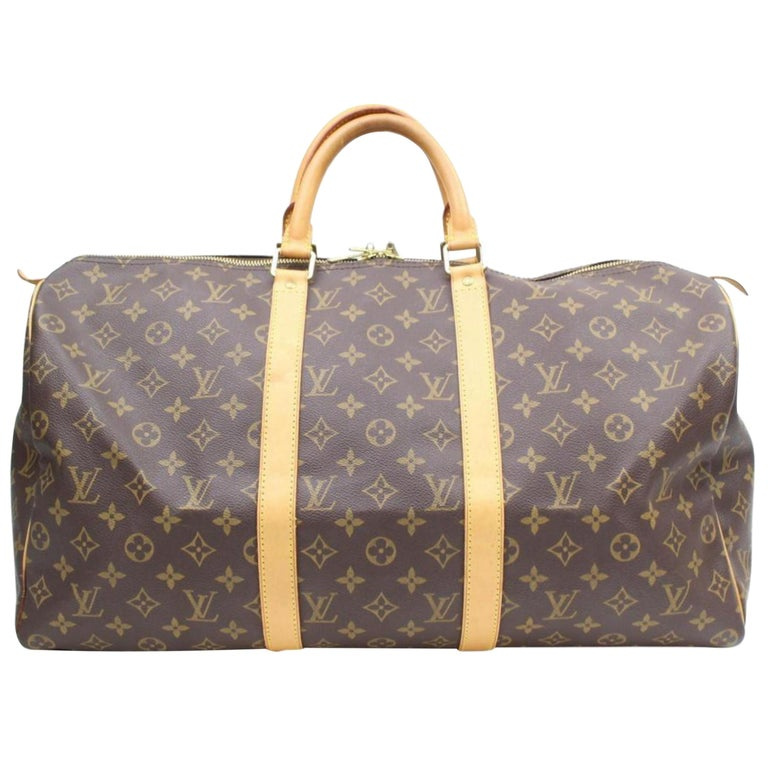 bd6c305fa651 Louis Vuitton Keepall Monogram 50 869098 Brown Coated Canvas Weekend Travel  Bag For Sale