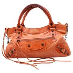 Balenciaga First 2way 868614 Orange Leather Shoulder Bag