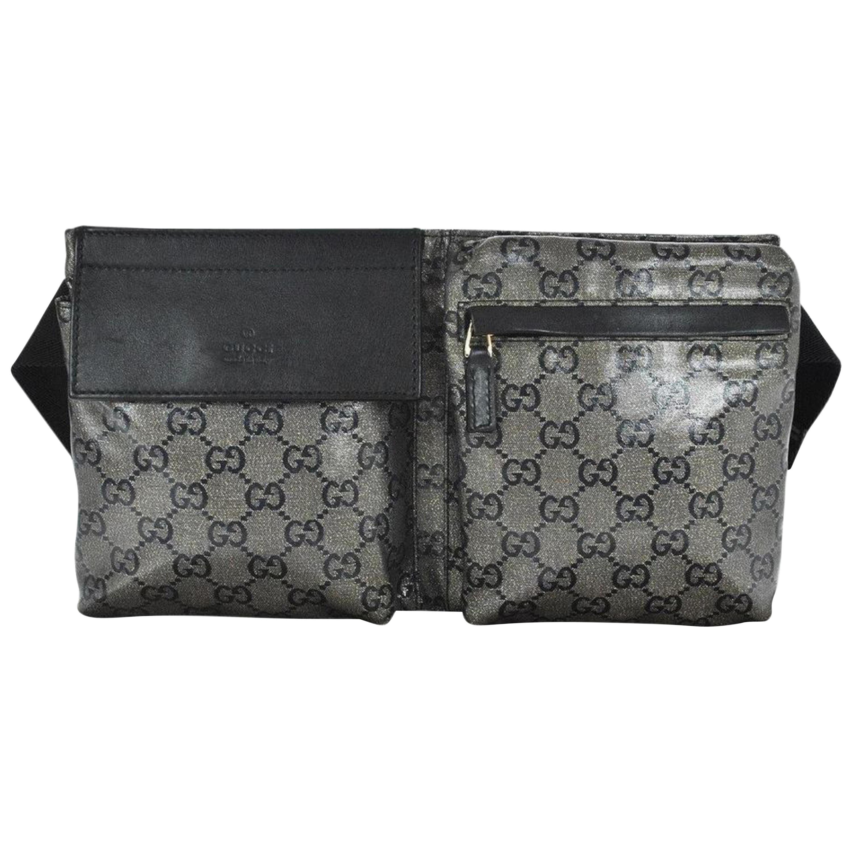 fb4e5d9ecddc06 Gucci Monogram Crystal Gg Fanny Pack Belt 868029 Grey Canvas Cross Body Bag  For Sale at 1stdibs
