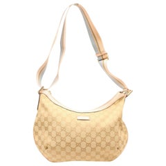Gucci Pink Sherry Monogram Web Half Moon Messenger 868567 Beige Canvas Cross Bod