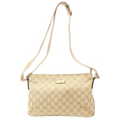 Gucci Sherry Pink Gold Monogram Gg Web Cross Body 868559 Beige Canvas Messenger