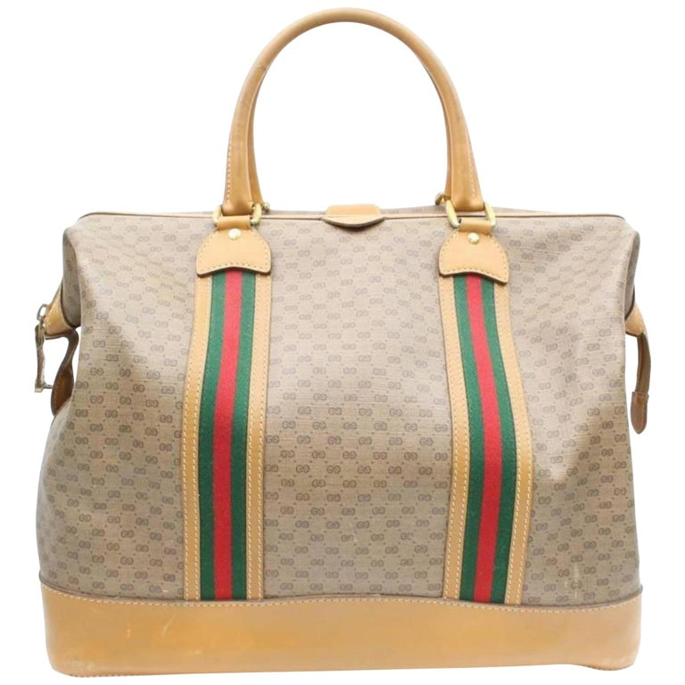 fa9d02607a1 Gucci Boston Sherry Micro Gg Web Duffle 869498 Brown Canvas Weekend Travel  Bag For Sale