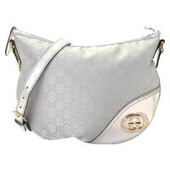 Gucci Britt Interlocking Logo Messenger Hobo 868425 Silver Canvas Cross Body Bag