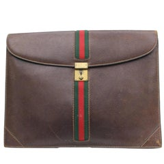 Gucci Extra Large Sherry Web Document Clutch 868420 Brown Leather Weekend/Travel