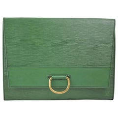 Louis Vuitton Pochette Iena Borneo Folding 868407 Green Leather Clutch