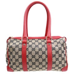 Gucci Boston Navy and Monogram Gg 868323 Red Canvas Satchel