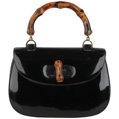 Gucci Vintage Black Patent Leather Bamboo Top Handle Bag