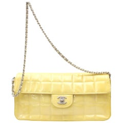 Chanel East West Quilted Chocolate Bar Flap 869289 Yellow Shoulder Bag