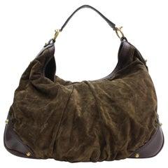 Gucci Large Jockey Hobo 868202 Brown Suede Leather Shoulder Bag