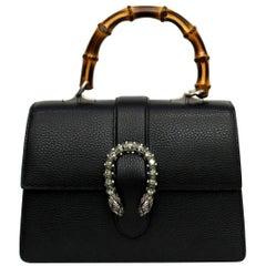 Gucci Black Leather Top Handle Dionysus Bag