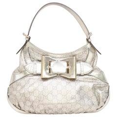 Gucci Metallic Queen Hobo 868065 Silver Coated Canvas Shoulder Bag