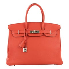 Hermes Birkin Handbag Feu Togo with Palladium Hardware 35