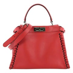 Fendi Peekaboo Handbag Whipstitch Leather Regular