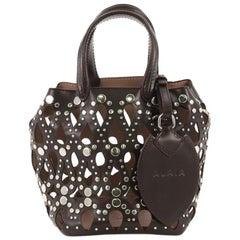 Alaia Studded Bucket Bag Laser Cut Leather Mini