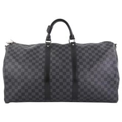 Louis Vuitton Keepall Bandouliere Bag Damier Graphite 55