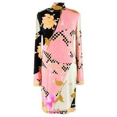 Leonard vintage abstract floral-print silk-jersey dress US 8