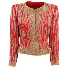 1980s Italian Tailored Silk Beaded Jacket
