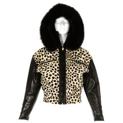 Gianni Versace black leather and pony hair bomber jacket with fur hood, AW 1992