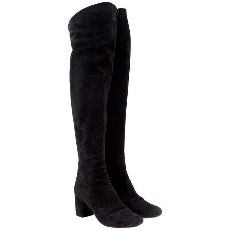 Saint Laurent Suede Long Heeled Boots US 8 For Sale