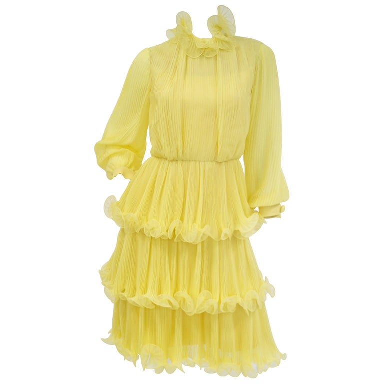1960s Lemon Chiffon Curly Hem Cocktail Dress For Sale