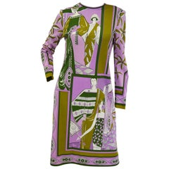 1960s Paganne Purple Art Deco Print Knit Dress