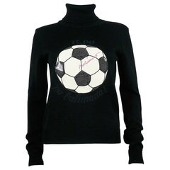 Moschino Vintage Soccer Ball Black Wool Blend Sweater US Size 8
