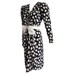 "VALENTINO ""New"" Haute Couture Black White Tulips Belt B  Silk Dress - Unworn"