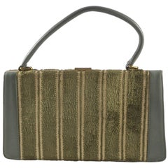 1950s Green Leather and Green with Gold Cut Velvet Handbag, Gold Tone Fittings