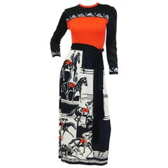 1960s Paganne Red and Black Racehorse Equestrian Print Maxi Dress