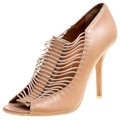 Givenchy Beige Leather Strappy Peep Toe Booties Size 40