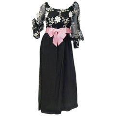 1960s Geoffrey Beene Black Evening Dress w/ White Floral Details & Pink Ribbon