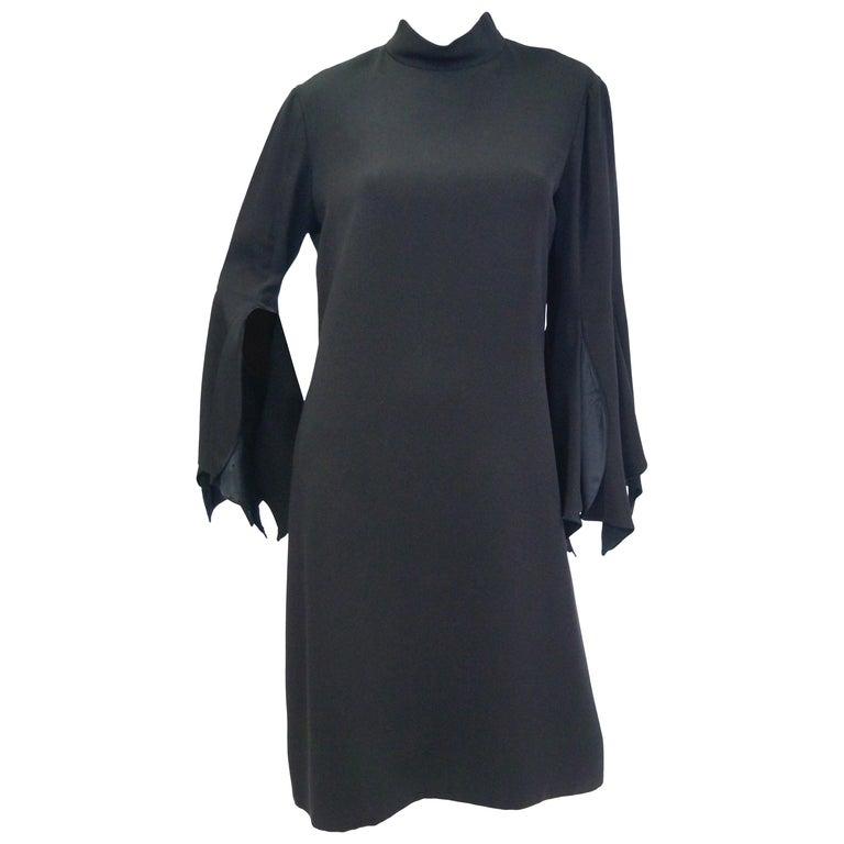1960s Geoffrey Beene Black Petal Bell Sleeve Cocktail Dress For Sale